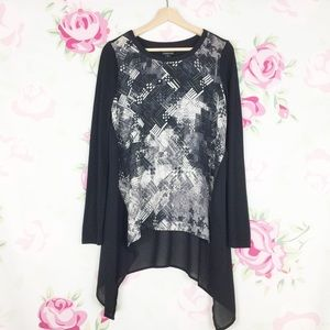 Trouve Black Abstract Long Sleeve Blouse M